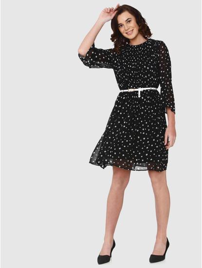 Black All Over Print Flared Hem Shift Dress