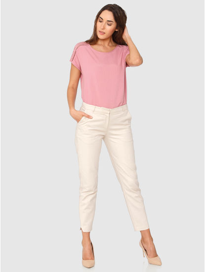 Beige Mid Rise Ankle Length Skinny Fit Chino Pants