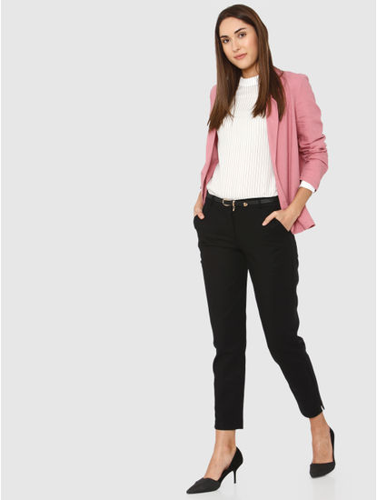 Black Mid Rise Ankle Length Skinny Fit Chino Pants
