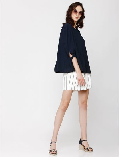 Navy Blue Fine Pleated Tie Up Sleeves Top