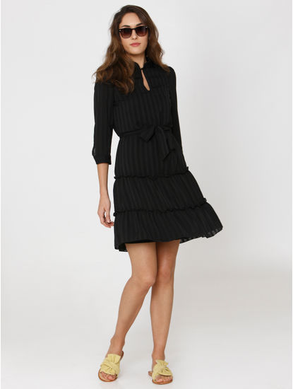 Black Striped Ruffle Detail Front Tie Belt Fit & Flare Dress