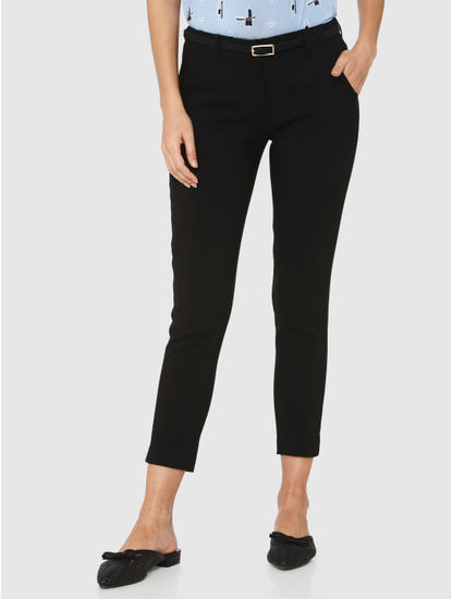 Black Mid Rise Ankle Length Slim Fit Pants