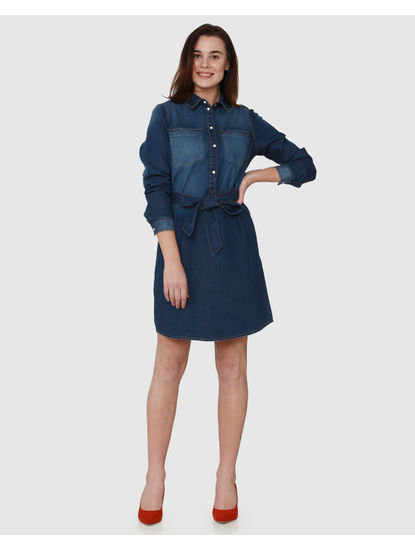 Blue Washed Effect Belted Denim Shirt Dress