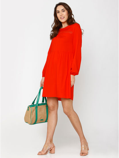 Red Lace Detail Shift Dress