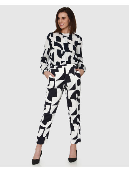 White Monochrome Abstract Print High Neck Top