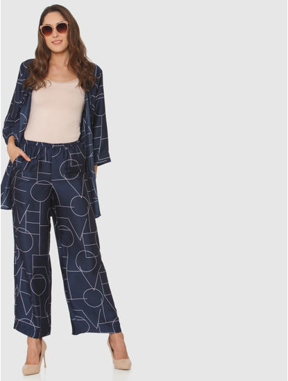 Navy Blue Mid Rise Typographic Print Pants