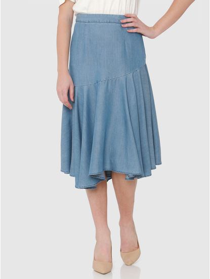 Blue Mid Rise Ruffle Hem Midi Denim Skirt