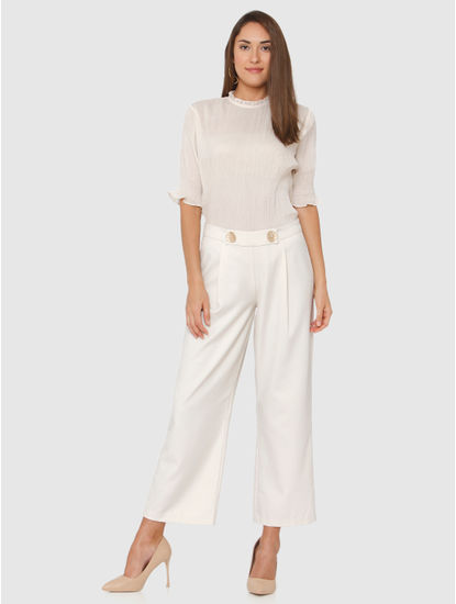 Off White Pleated Top