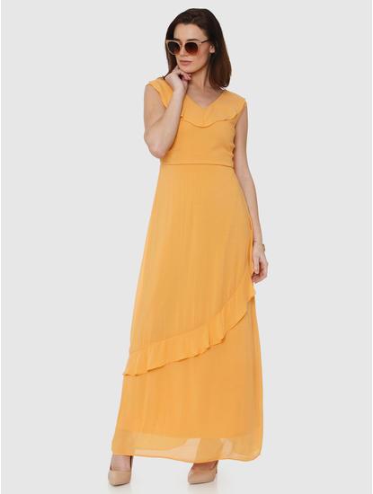 Golden Frill Detail Maxi Dress