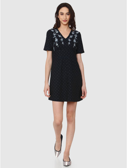 Dark Blue All Over Polka Dot Floral Embroidery Detail Fit & Flare Dress