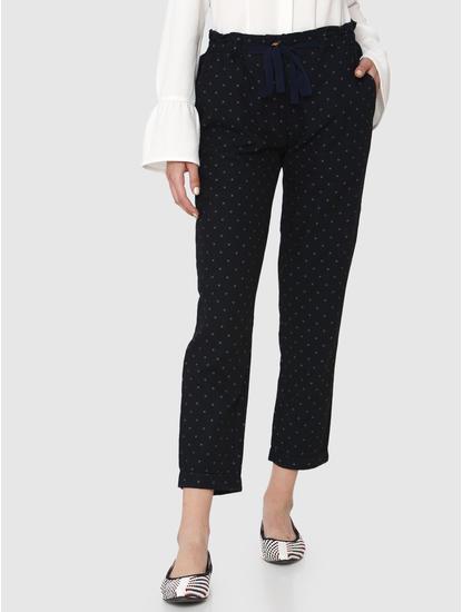 Dark Blue Mid Rise Polka Dot Drawstring Ankle Length Pants