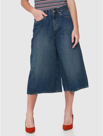Blue High Rise Wide Leg Denim Culottes