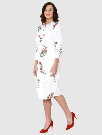White All Over Floral Print Gathered Waist Detail Shift Dress