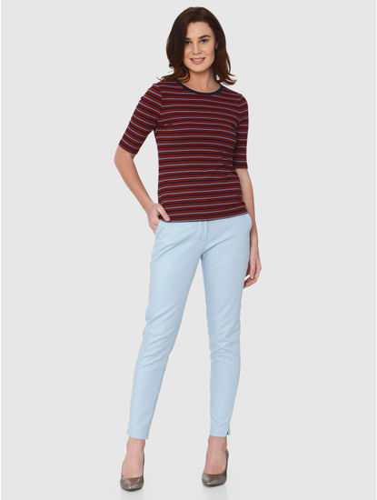 Red Multicoloured Striped Ribbed T-shirt