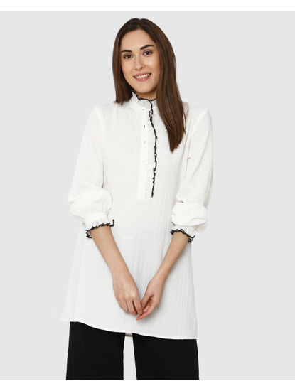 White Contrast Tipping Detail High Neck Tunic Top