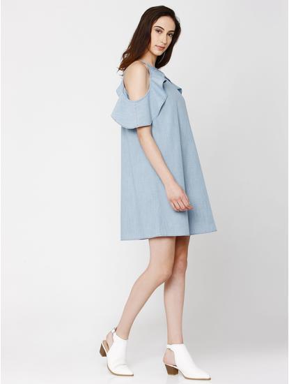 Light Blue Frill Detail Denim Shift Dress
