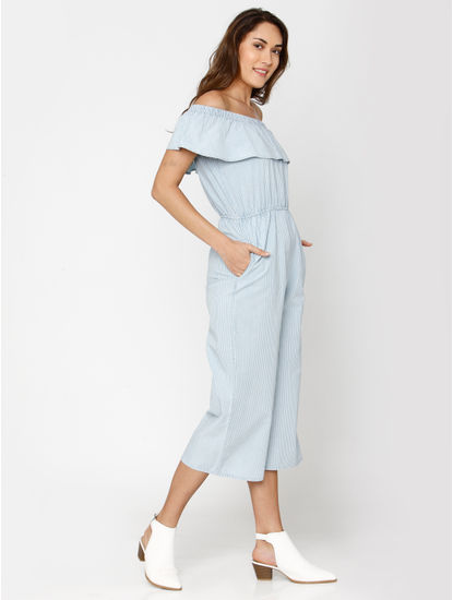 Light Blue Denim Ruffle Detail Off Shoulder Midi Jumpsuit