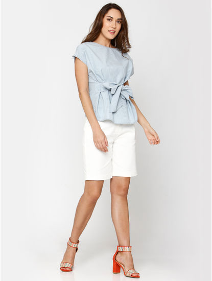 Light Blue Striped Front Tie Top