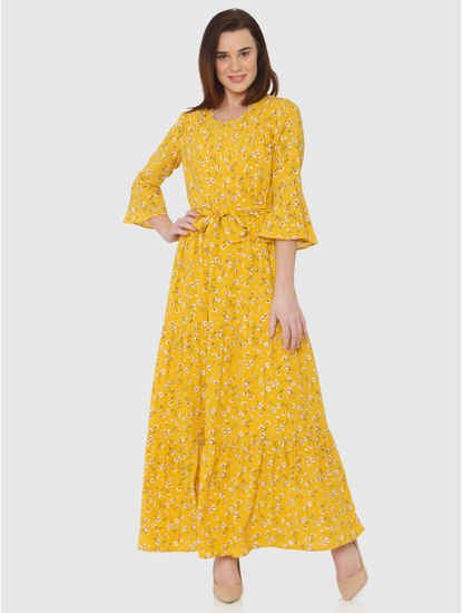 Yellow All Over Floral Print Maxi Dress