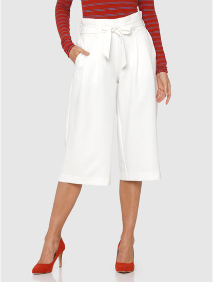 White Mid Rise Belted Culottes