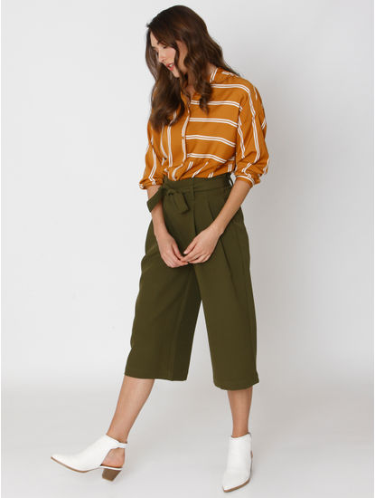 Green Mid Rise Paper Bag Waist Ankle Length Culottes