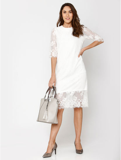 White Lace Detail Midi Shift Dress