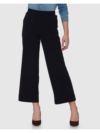 Navy Blue High Waist Ankle Length Straight Fit Culottes