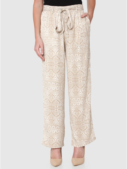 Beige Mid Rise Drawstring Abstract Print Slim Fit Pants