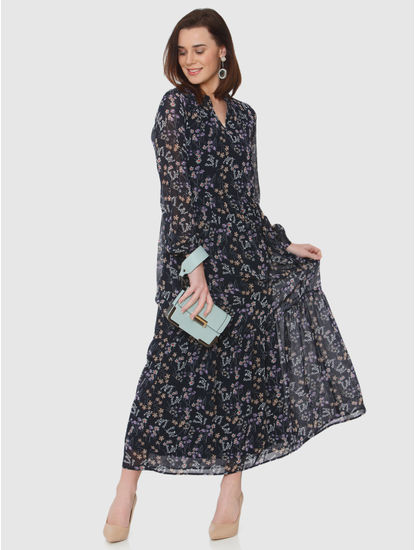 Navy Blue All Over Floral Print Maxi Dress