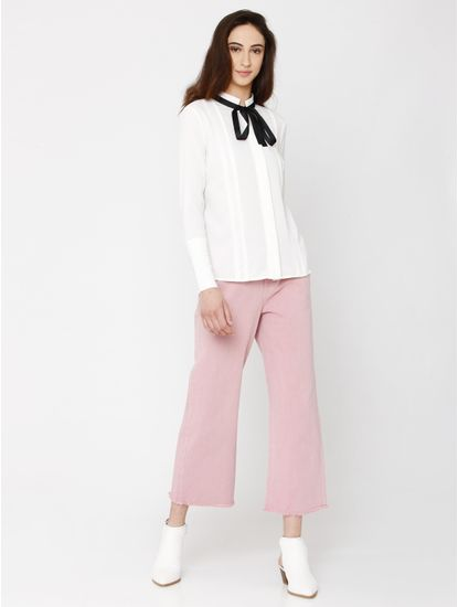White Bow Detail Shirt