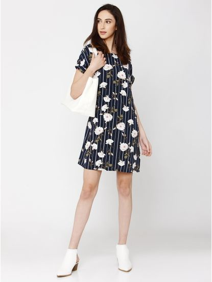 Navy Blue Floral Print Shift Dress