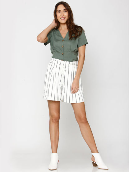 White High Rise Striped Drawstring Slim Fit Shorts