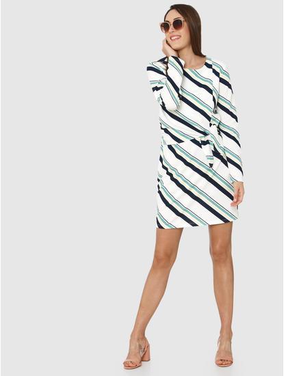 White Striped Shift Dress