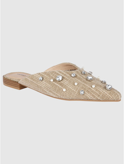 Beige Studded Mules