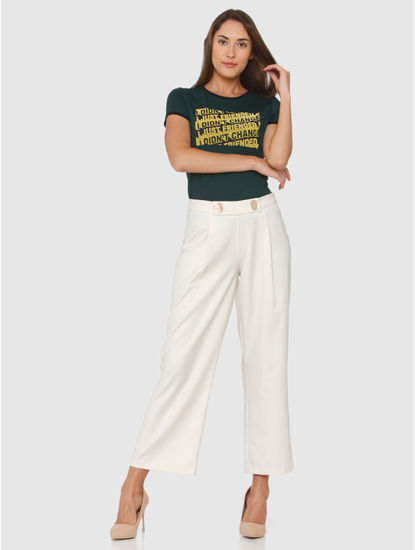 Cream Mid Rise Wide Leg Loose Fit Pants