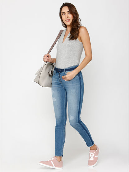 Blue Mid Rise Side Tape Detail Washed Ankle Length Skinny Fit Jeans