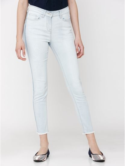 Light Blue Mid Rise Side Tape Detail Washed Ankle Length Skinny Fit Jeans