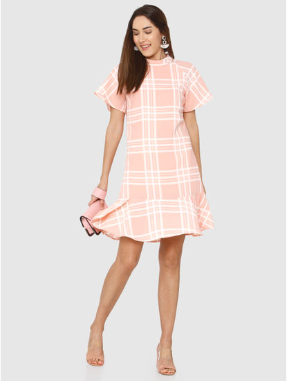 Coral Check Shift Dress