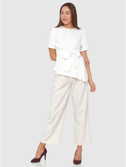 White Front Tie Asymmetric Top
