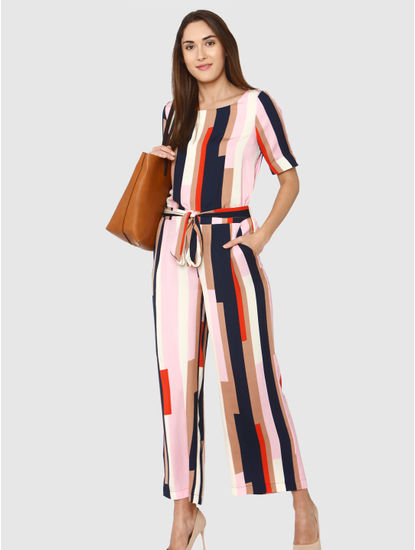 Pink Mid Rise Colour Blocked Belted Pants