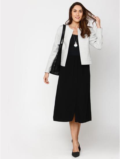 White Textured Formal Blazer