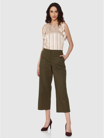 Green Mid Rise Pants