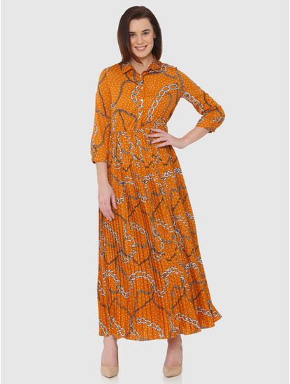 Orange All Over Print Pleated Maxi Dress