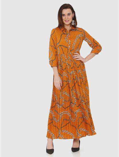Orange All Over Print Pleated Maxi Dress