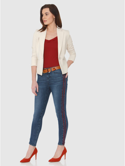 Blue Mid Rise Side Red Tape Detail Ankle Length Skinny Fit Jeans