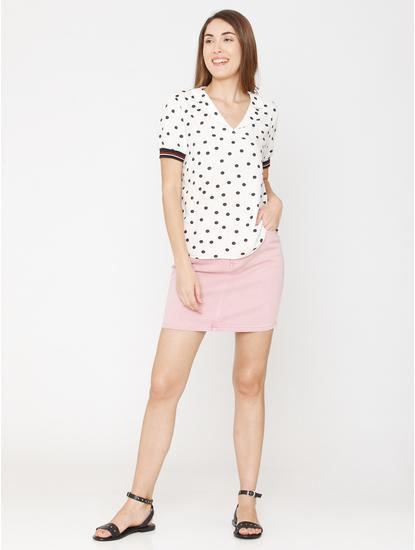 White Polka Dot Print Top