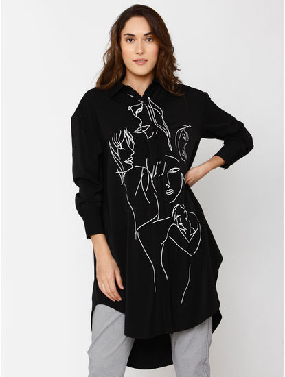 Black Graphic Print High Low Hem Long Shirt