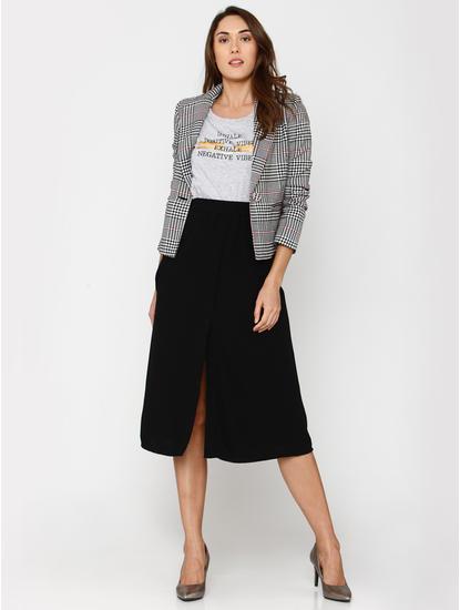 Black Mid Rise Midi Skirt