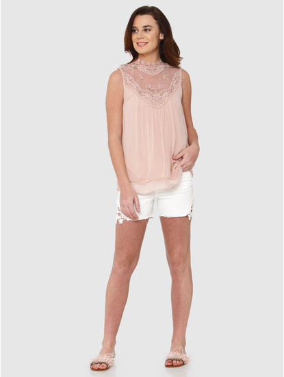 Pink Lace Detail High Neck Layered Top