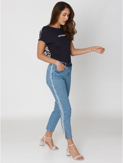 Blue Mid Rise Frayed Tape Detail Anti-Fit Jeans